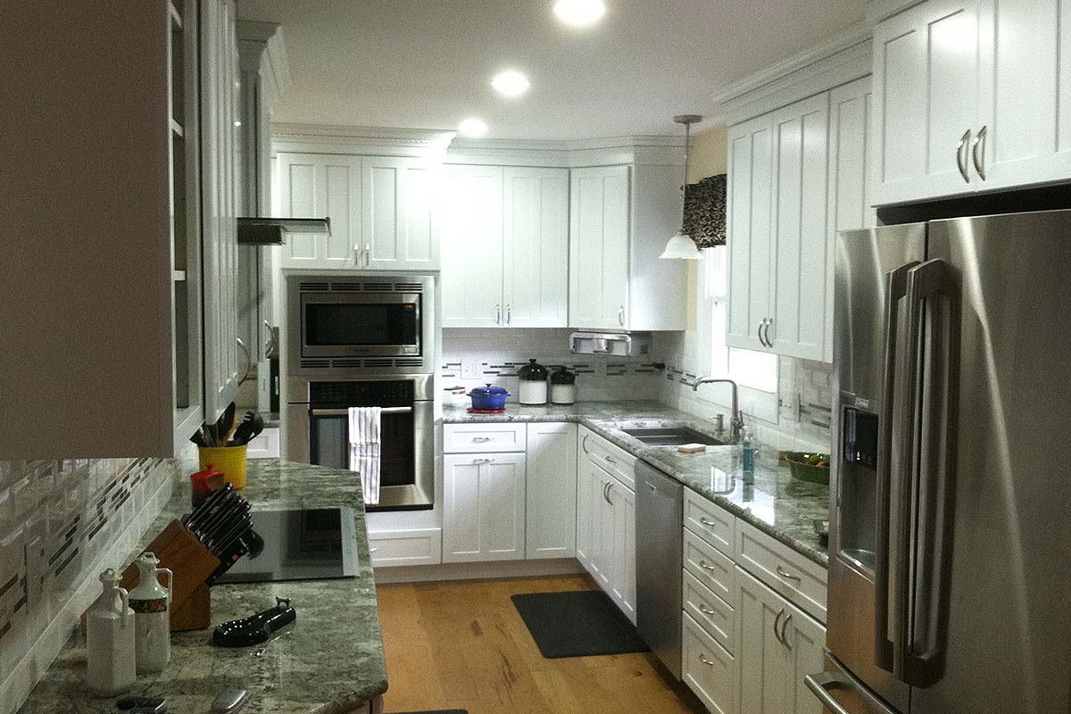 New Kitchen Construction With White Kraftmaid Cabinets Rotella Bath