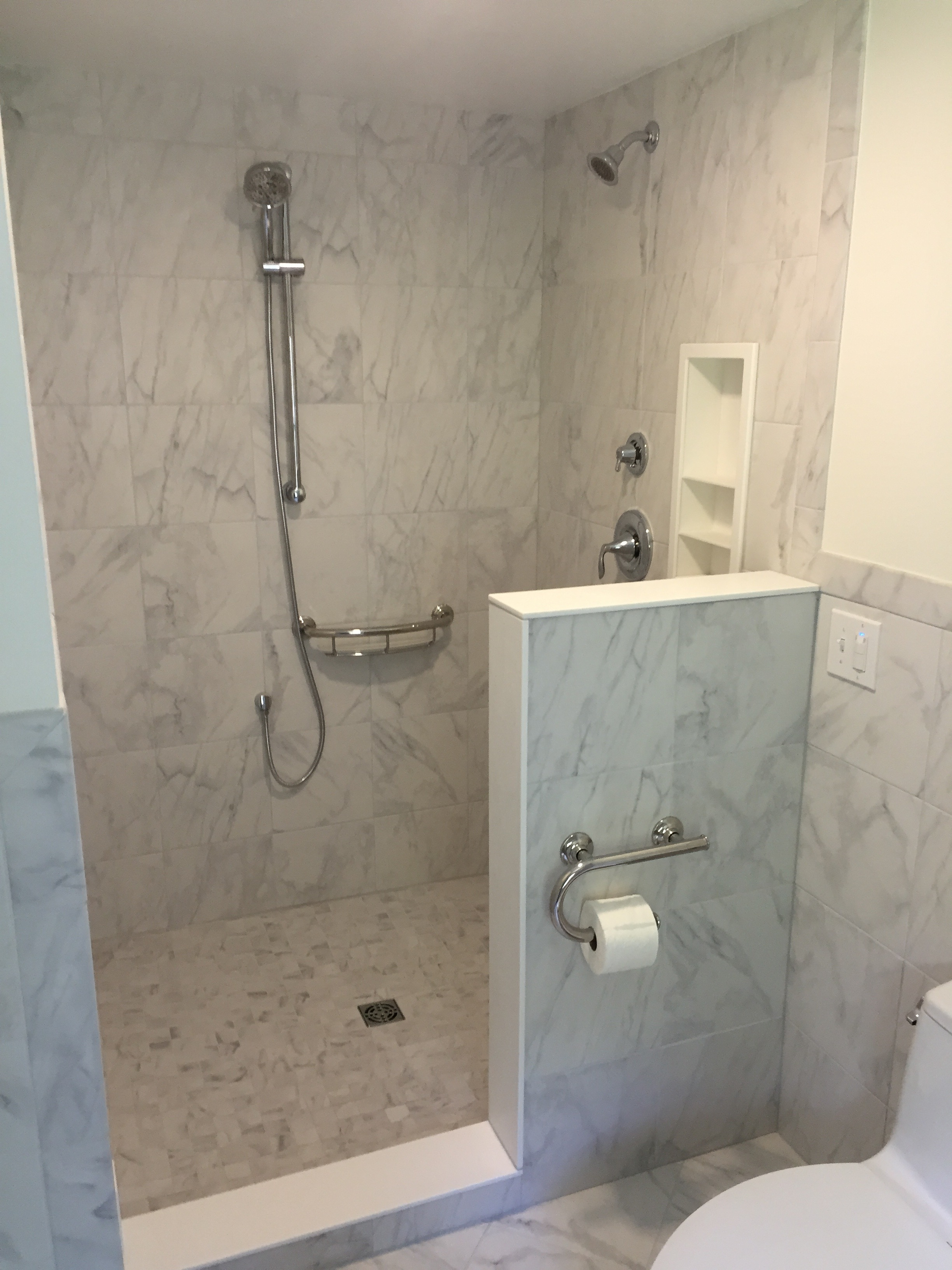 Shower Panels Instead Of Tiles Rebath Oversized Tile Wall